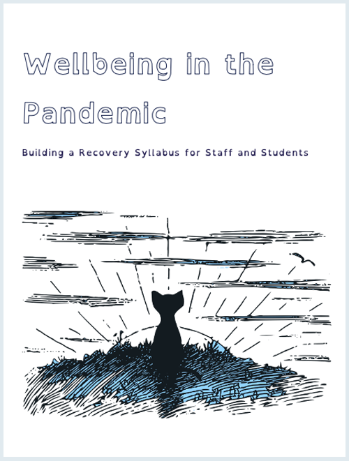 "A cover of the workbook ""Wellbeing in the Pandemic: Building a Recovery Syllabus for Students and Staff"". It features a line drawing of a small black cat sitting on a hill with the sun rising behind it."